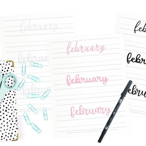Get 28 FEBRUARY Hand Lettering Prompts plus a FREE practice sheet in this blog series to improve your hand lettering skills. Plus, learn how you can get 28 days of February lettering worksheets!