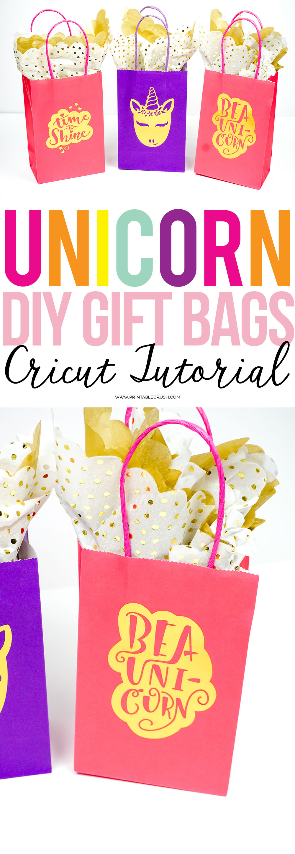 I love these adorable DIY Gift Bags with Unicorn Graphics. They're the easiest way to customize a birthday party favor bag!#unicorncraft #unicorn #unicornsvgfile #unicornparty #partyideas #partyfavors #unicornpartyfavors #cricutcraft #cricutideas #cricutpartyfavors via @printablecrush