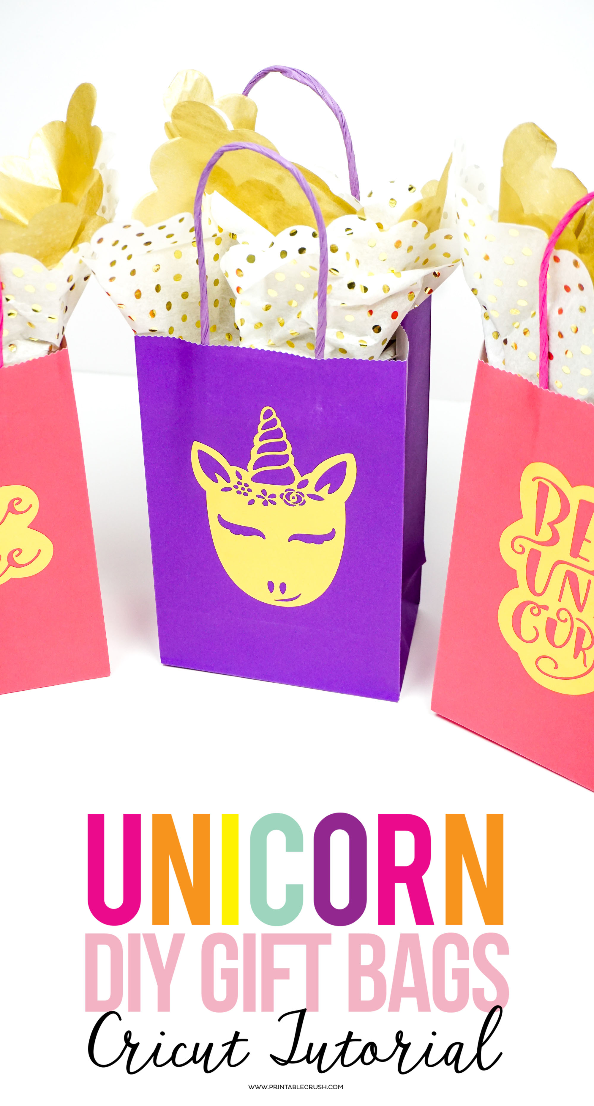 TheseGold Foil DIY Unicorn Gift Bags add a personal touch to birthday parties. Use them for party favors, teacher gifts, birthday gifts, and more!