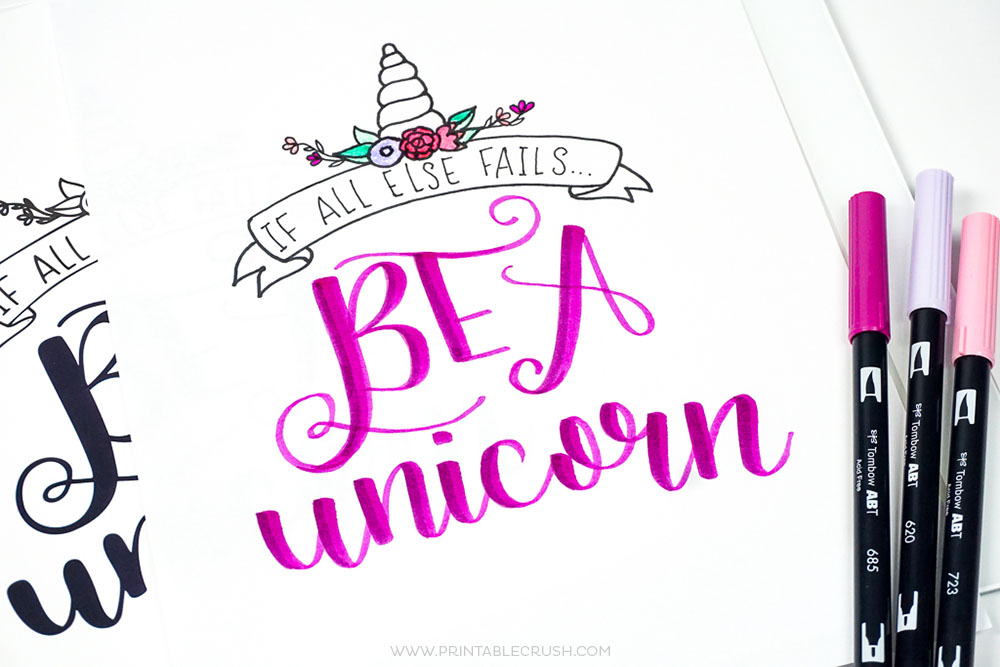 FREE Printable Unicorn Hand Lettering Worksheet And Wall