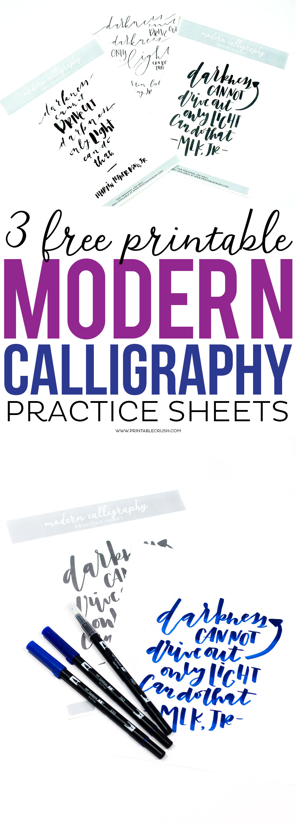 3 Free Printable Modern Calligraphy Practice Sheets - Printable Crush