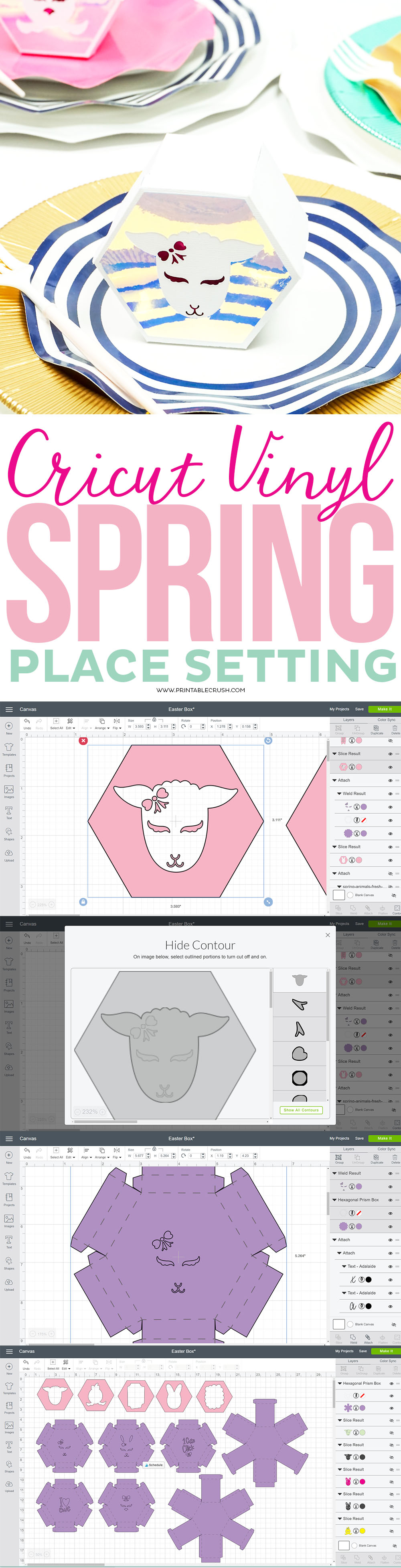 Cricut Vinyl Spring Place Setting step-by-step collage