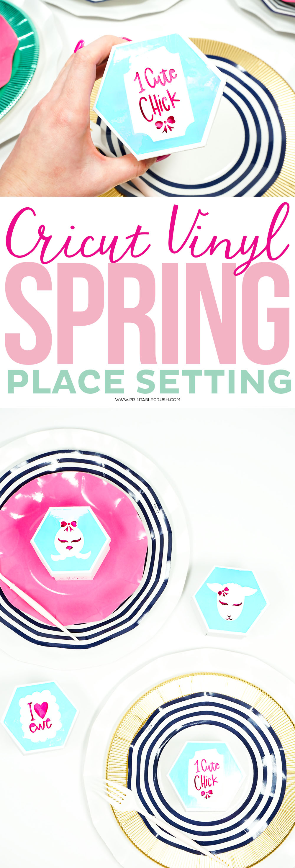 Cricut Vinyl Spring Place Setting closeup collage