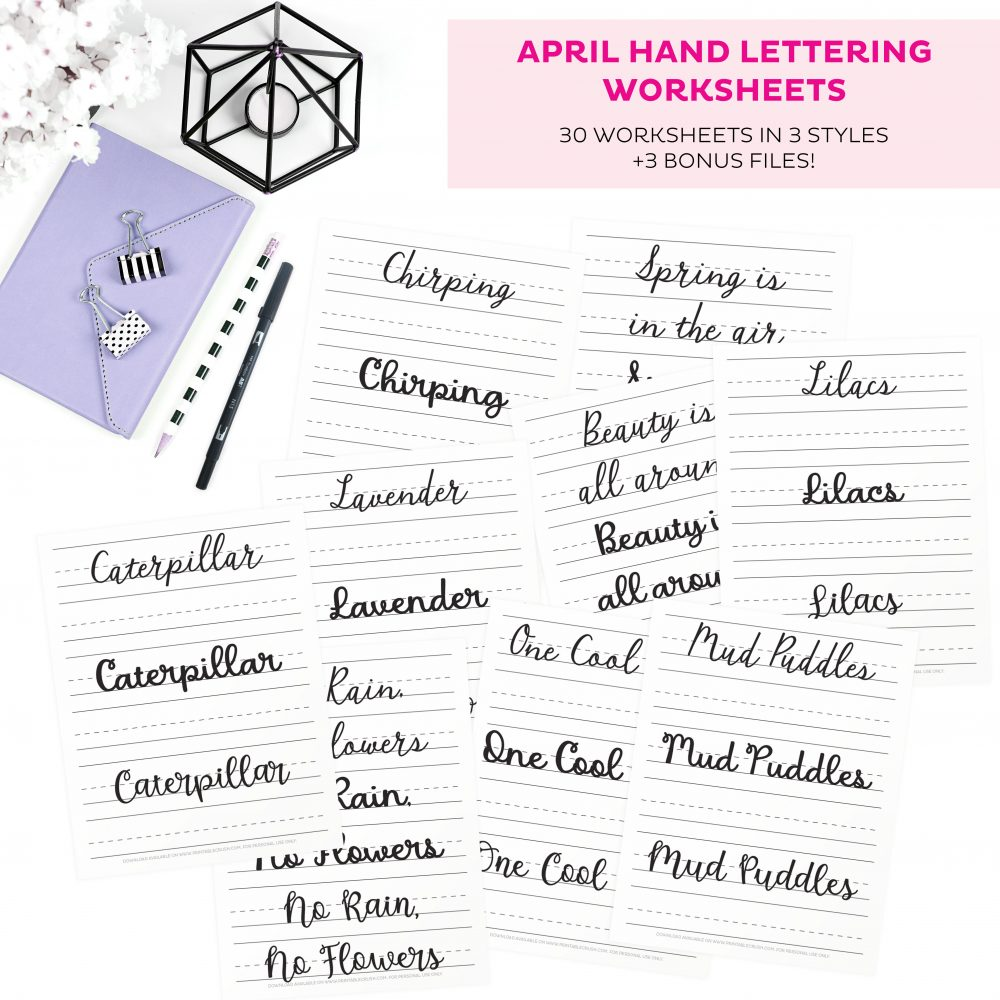 Over 30 April Hand Lettering Worksheets