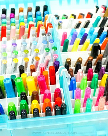 Want an easy way to store your lettering markers? Check out these inexpensive Marker storage ideas!