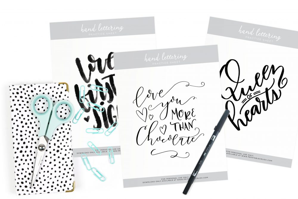 These are all the Monthly Hand Lettering Prompts from Printable Crush in one convenient location. Now you can practice your lettering every day in your own style, or get the Monthly Practice Sheets from the shop!