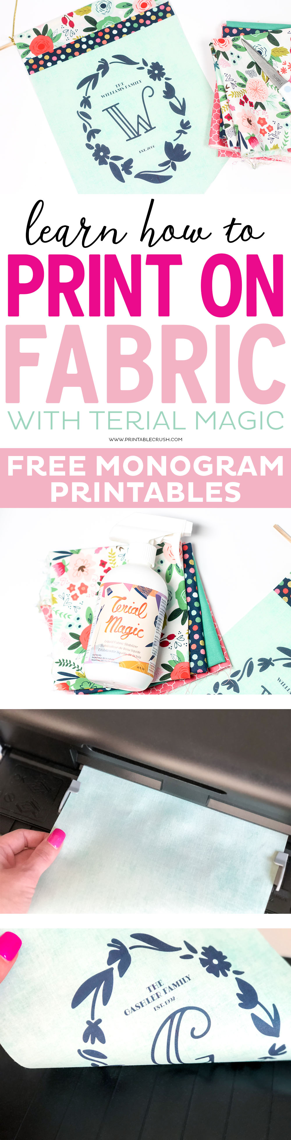 Terial Magic is a Fabric Stabilizer that allows you to easily print on fabric with your inkjet or laser printer. Print patterns, word art, banners, and more! via @printablecrush