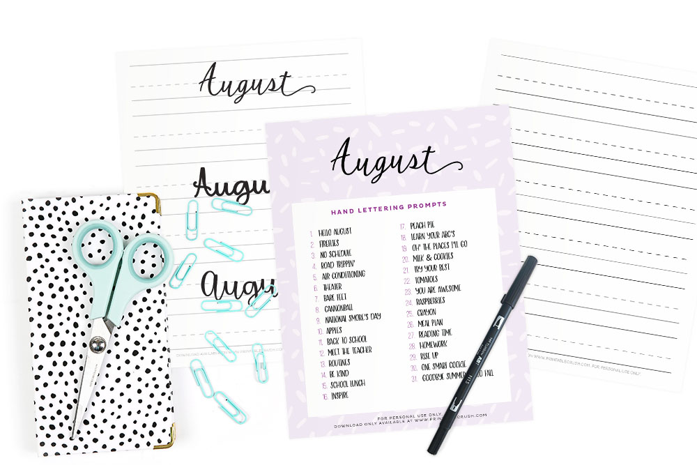 AUGUST HAND LETTERING PROMPTS AND FREE WORKSHEET