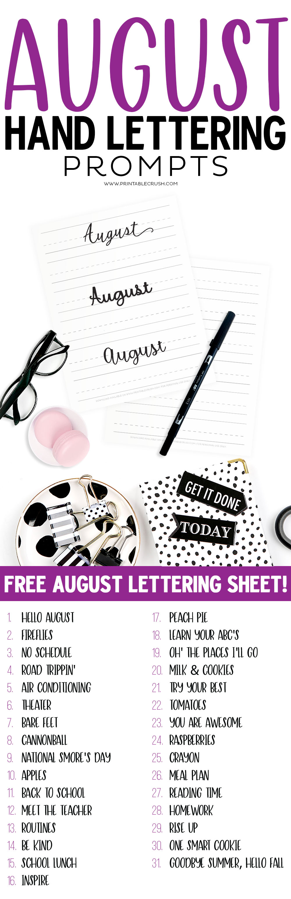 Get 31 AUGUST Hand Lettering Prompts plus a FREE practice sheet in this blog series to improve your hand lettering skills. #handlettering #tombowpro via @printablecrush
