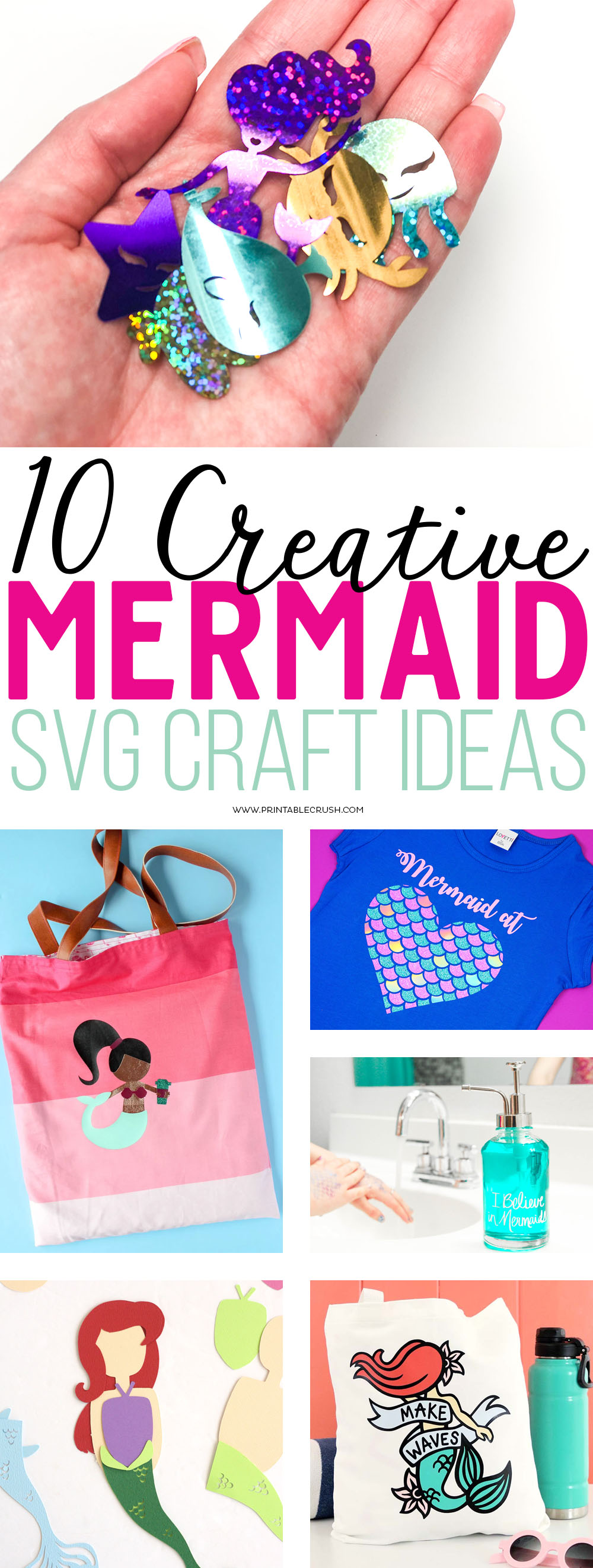 I've rounded up 10 Creative Mermaid SVG File Ideas using graphics that will be perfect for parties, vinyl projects, home decor, and more!