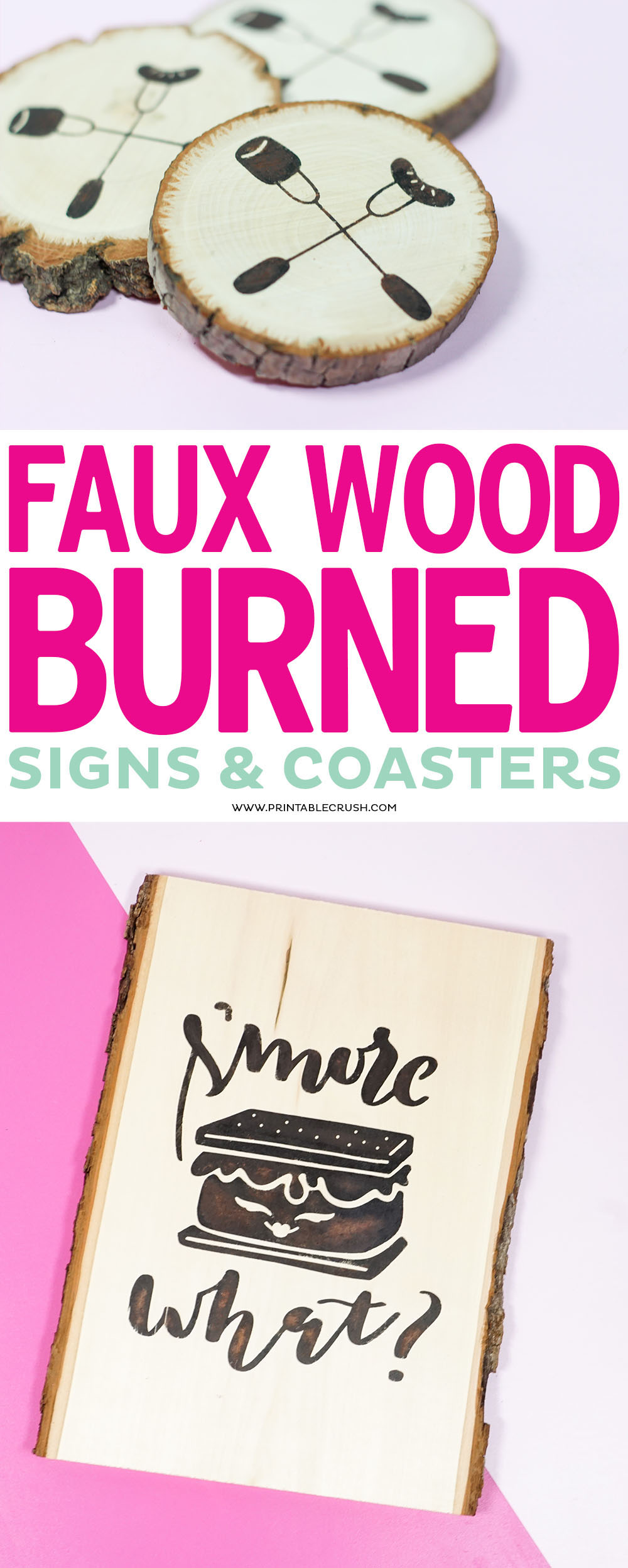 This Faux Wood Burned Sign and Coasters Tutorial is SO easy and no one will know it's painted! It works great with vinyl stencils and such easy cleanup! via @printablecrush