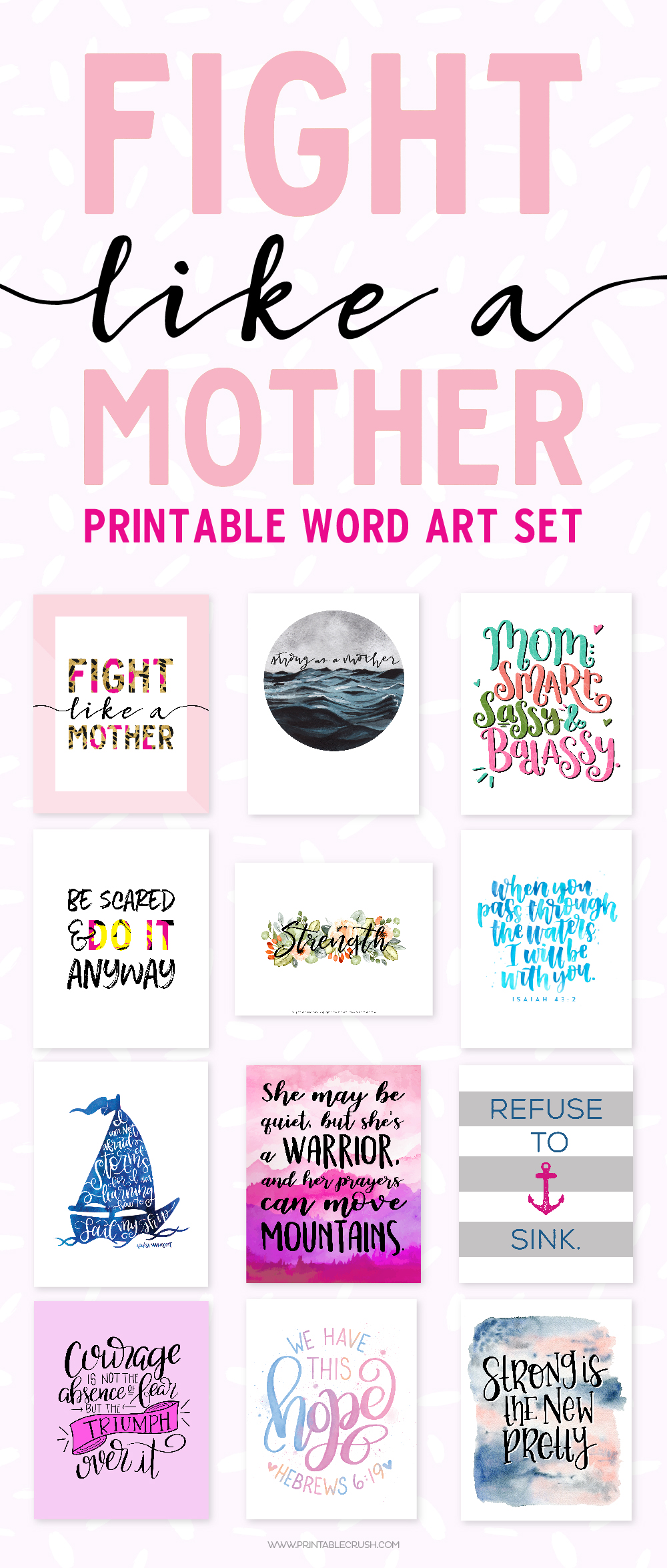 Get this Fight Like a Mother Printable Word Art Set as a gift for the strong women in your life and choose your donation amount to help a family in need. via @printablecrush