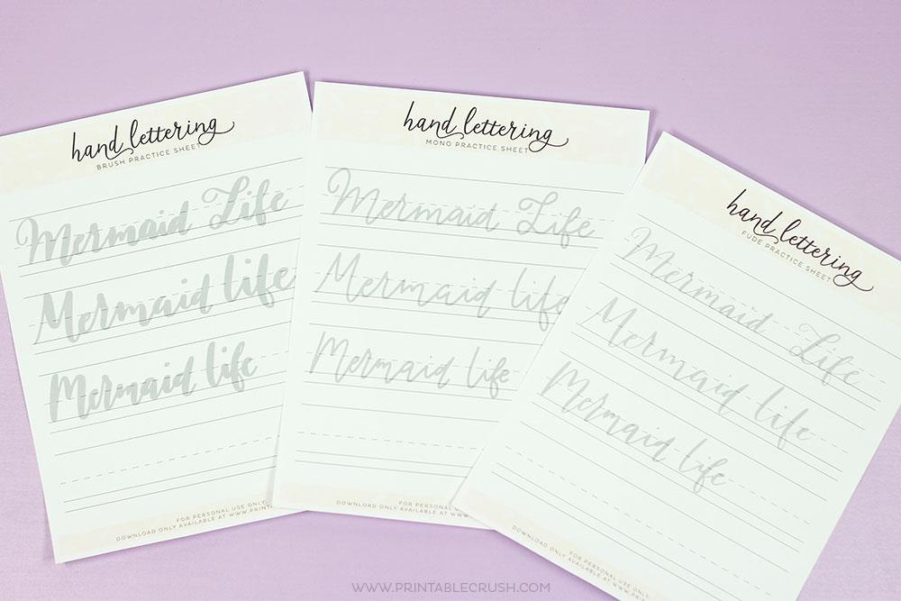 Free Printable Mermaid Hand Lettering Worksheets - Printable