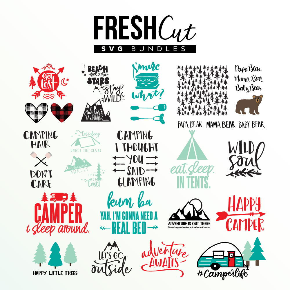 Get the NEW Fresh Cut CAMPING SVG file bundle! On sale for a limited time!