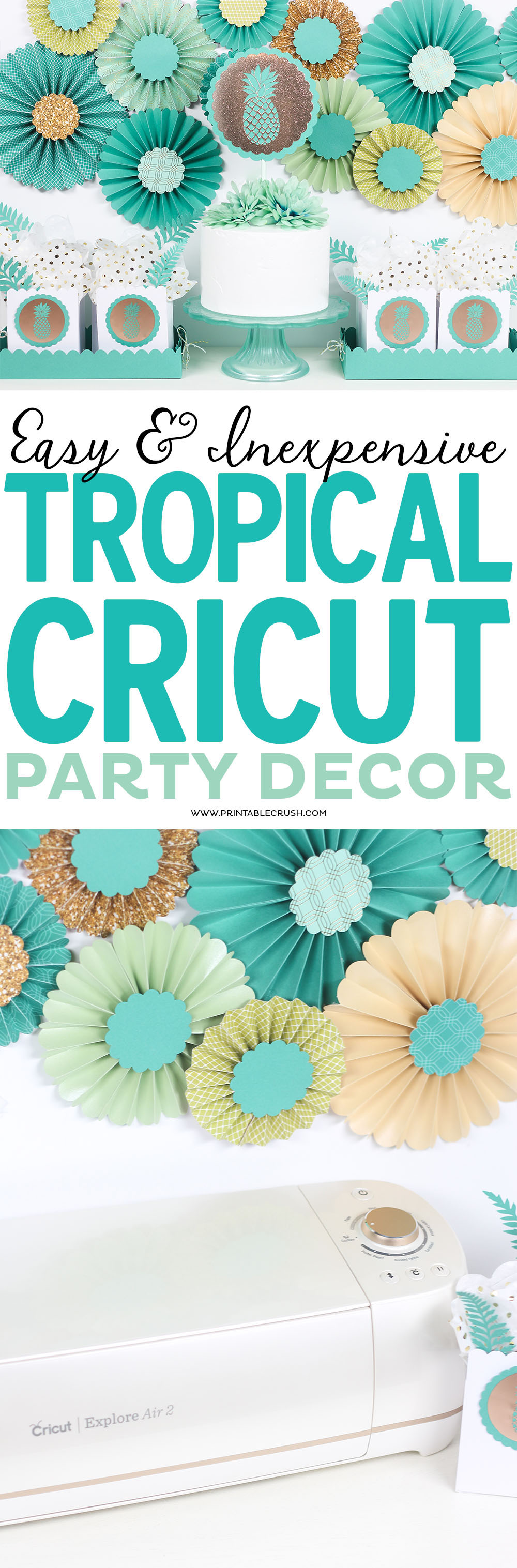 This tropical Cricut party decor is so simple to create with the new graphics included in the Martha Stewart Cricut Explore Air found at Michaels stores!