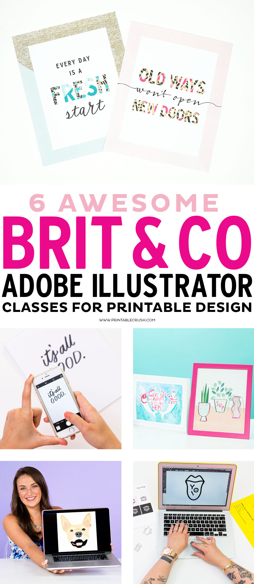 Check out these 7 Awesome Brit and Co Adobe Illustrator Classes for Printable Design! If you want to design printables for profit, for classrooms, or just because, these classes will help you become a pro! via @printablecrush