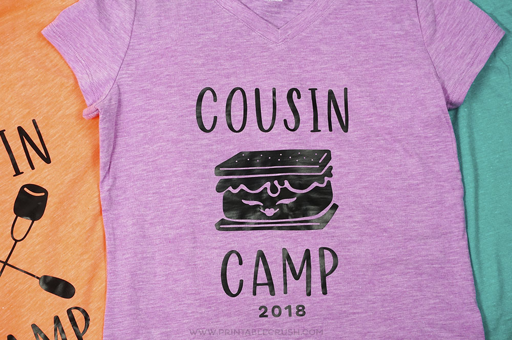These Cousin Camp Cricut Iron On T-shirts are the perfect keepsake for your family reunions and summer get-togethers! #ironontshirts #cricutmade #cricut #SVGfiles #freshcutsvgfiles