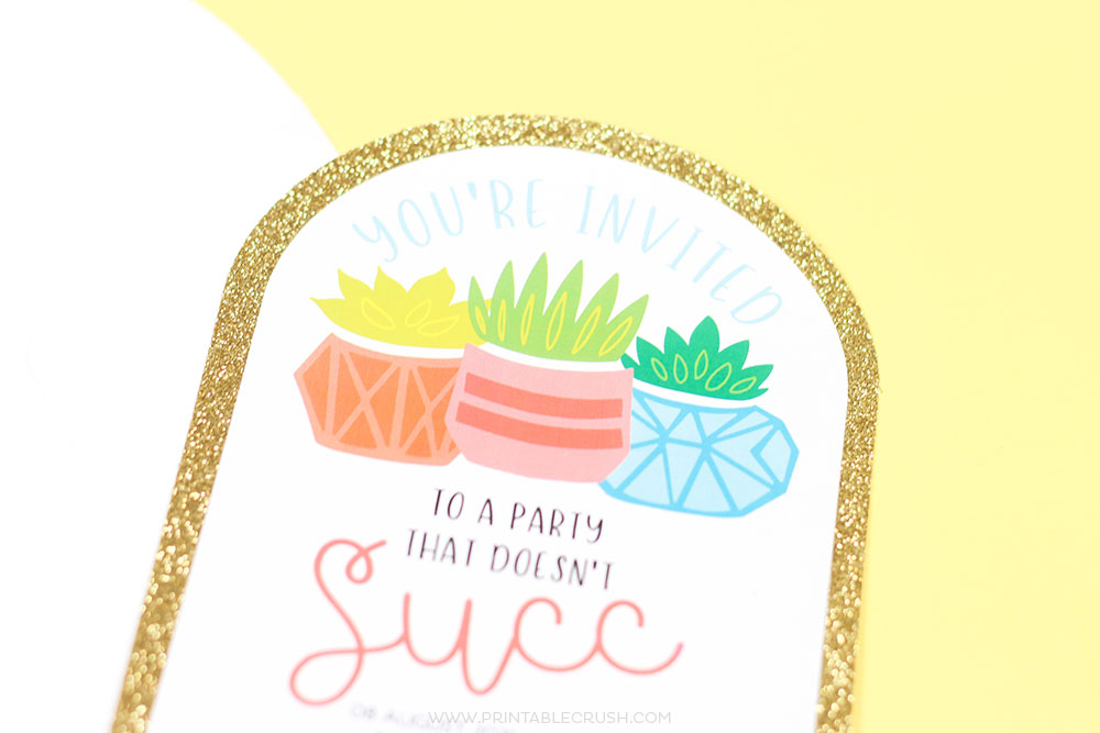 DIY Succulent party invitations created in Cricut Design Space using SVG Files
