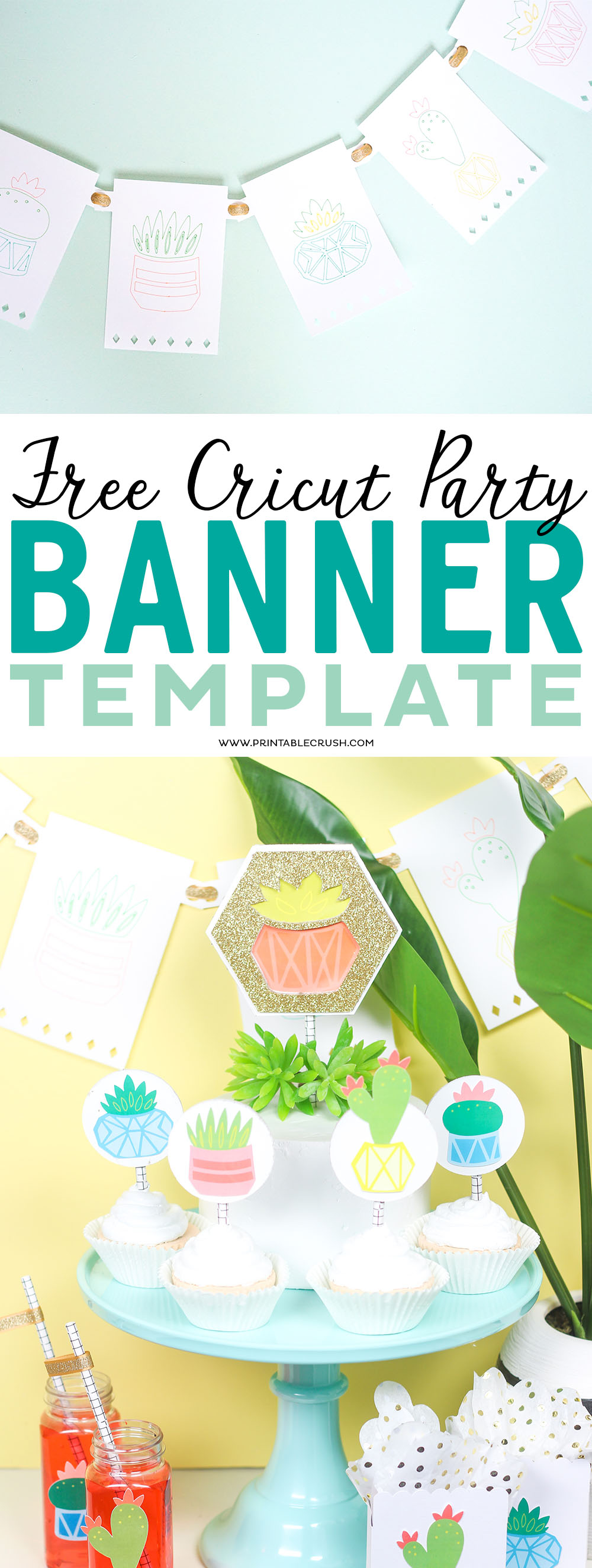 Make your own banner design with this free Cricut Party Banner Template. BannerFile will open up right in Cricut Design Space - so no need to download! #cricut #cricuttutorial #partybanner #partyideas via @printablecrush