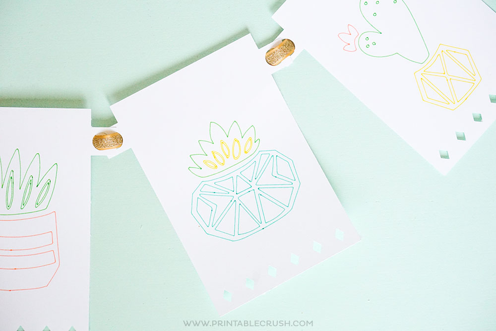 Get this FREE Cricut Party Banner Template and learn to make a succulent banner for a Palm Springs Party!