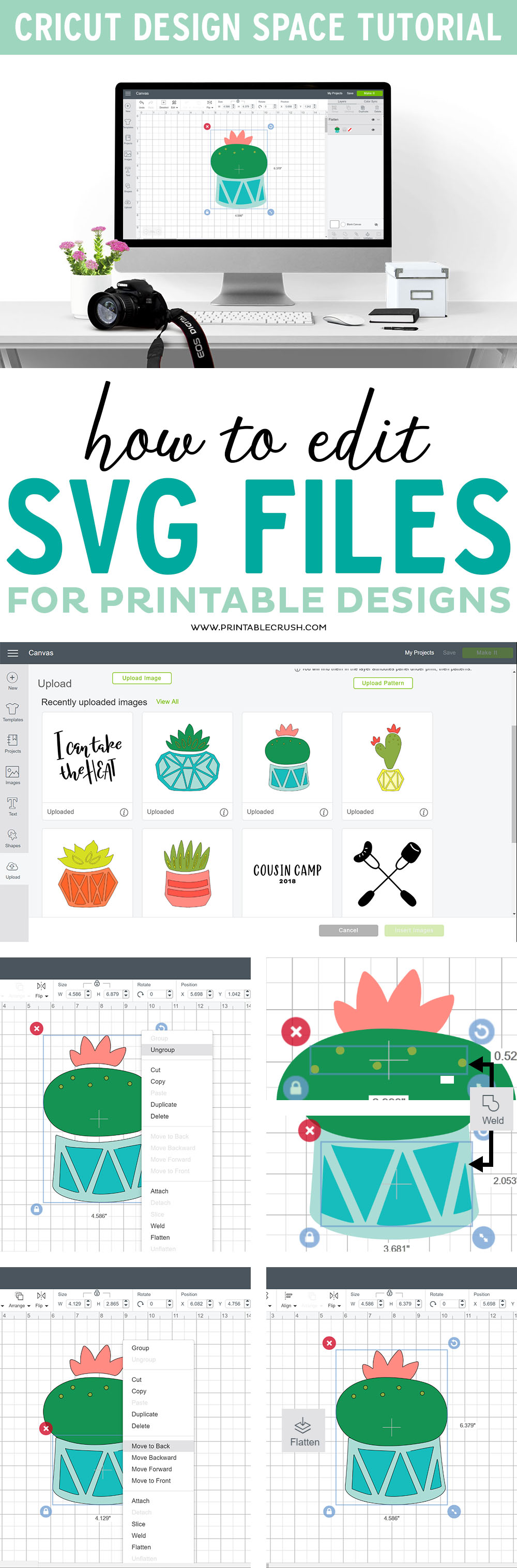 How to Edit SVG Files to use for Printable Designs in Cricut Design Space!