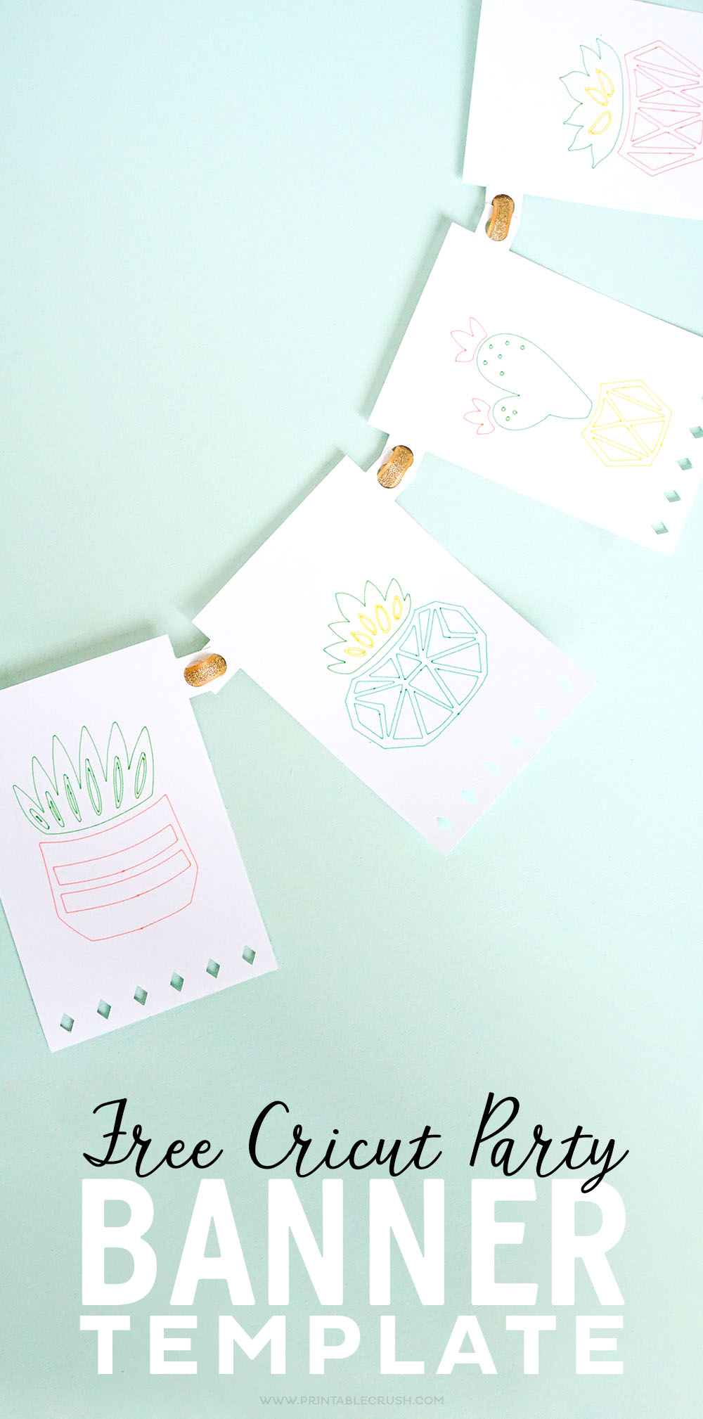 Make your own banner design with this free Cricut Party Banner Template