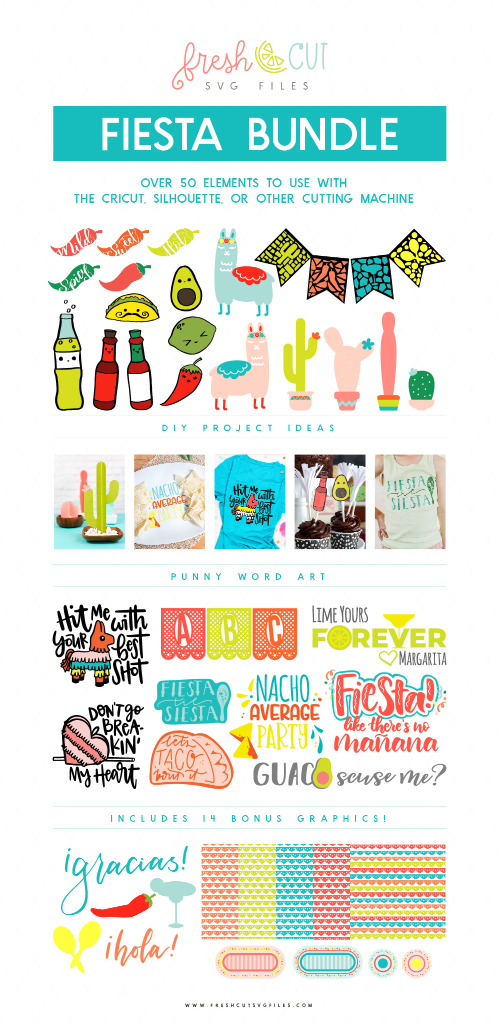 Fiesta SVG Files includes llamas, hand lettered fiesta quotes, pinatas, papel picado banners, and more!