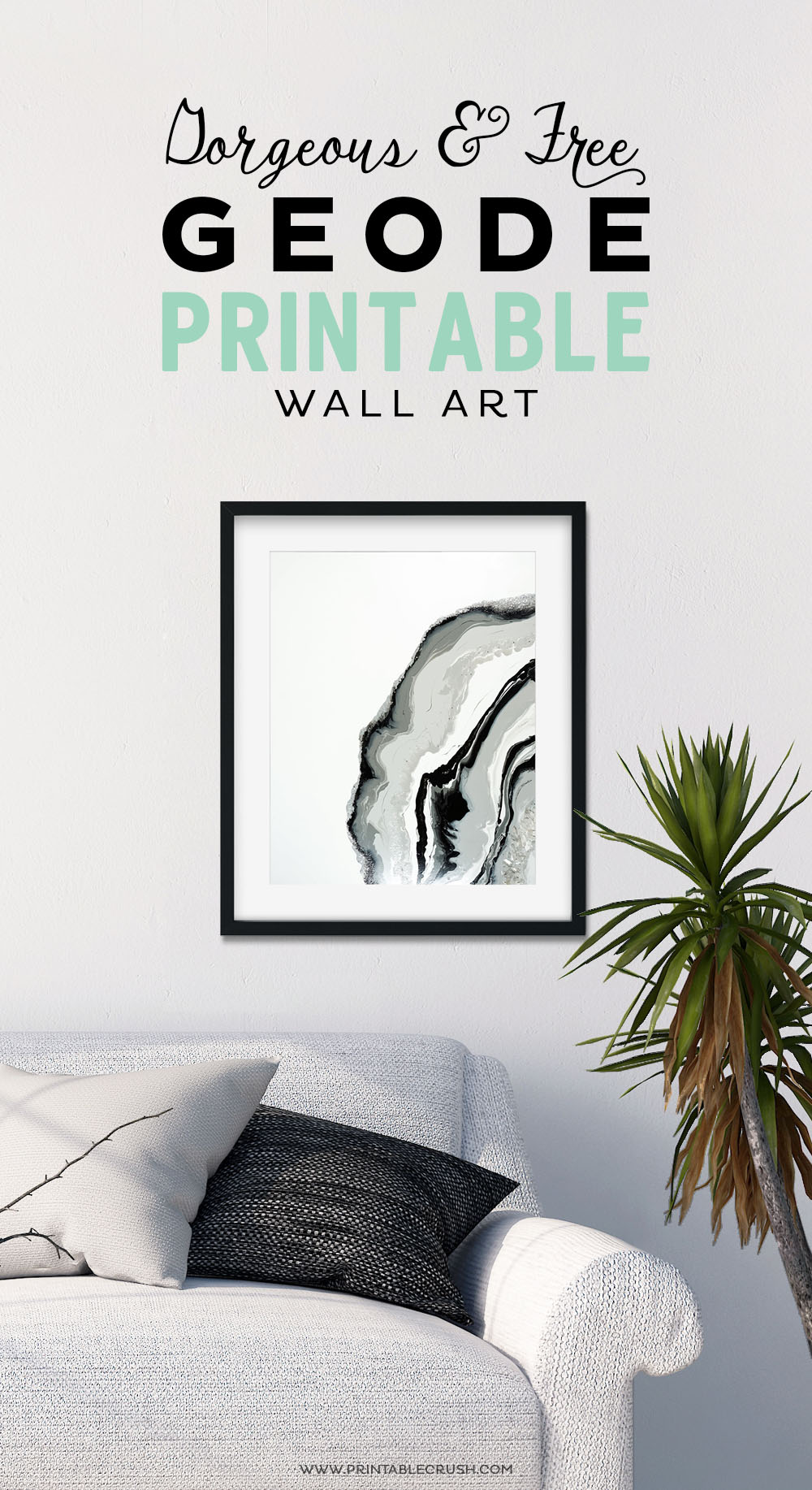 Free geode printable wall art for your modern home decor! Would be great for a gallery wall, printing on canvas, or use it for hand lettering projects.