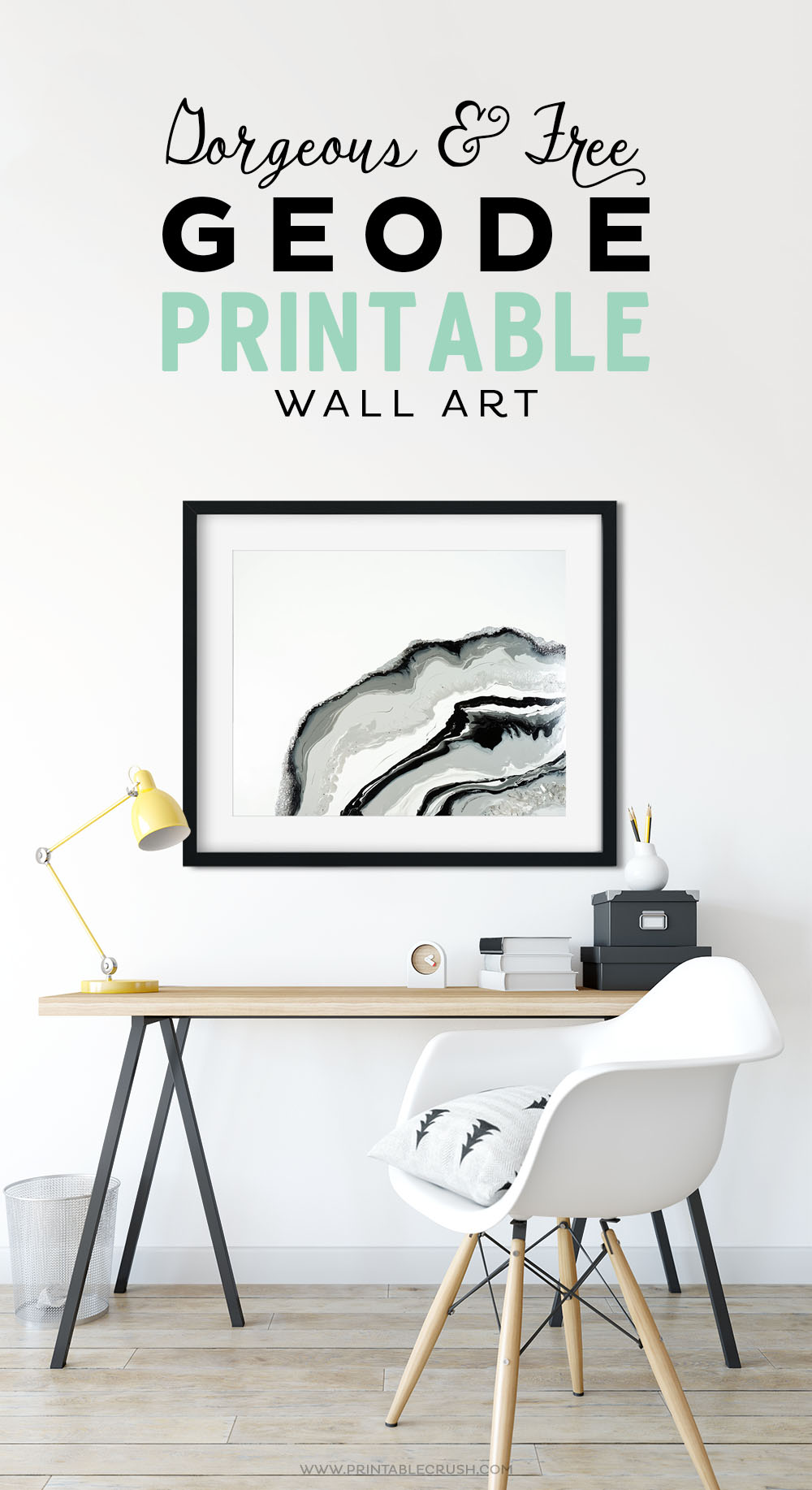 "Decorate your modern home with this beautiful FREE Geode Printable Wall Art. Comes in 5X7"" and 8X10"" with different layout options. The marble colors come from my original acrylic paint pour painting. #freeprintable #paintpouring #printablewallart #homedecor #modernartprint"
