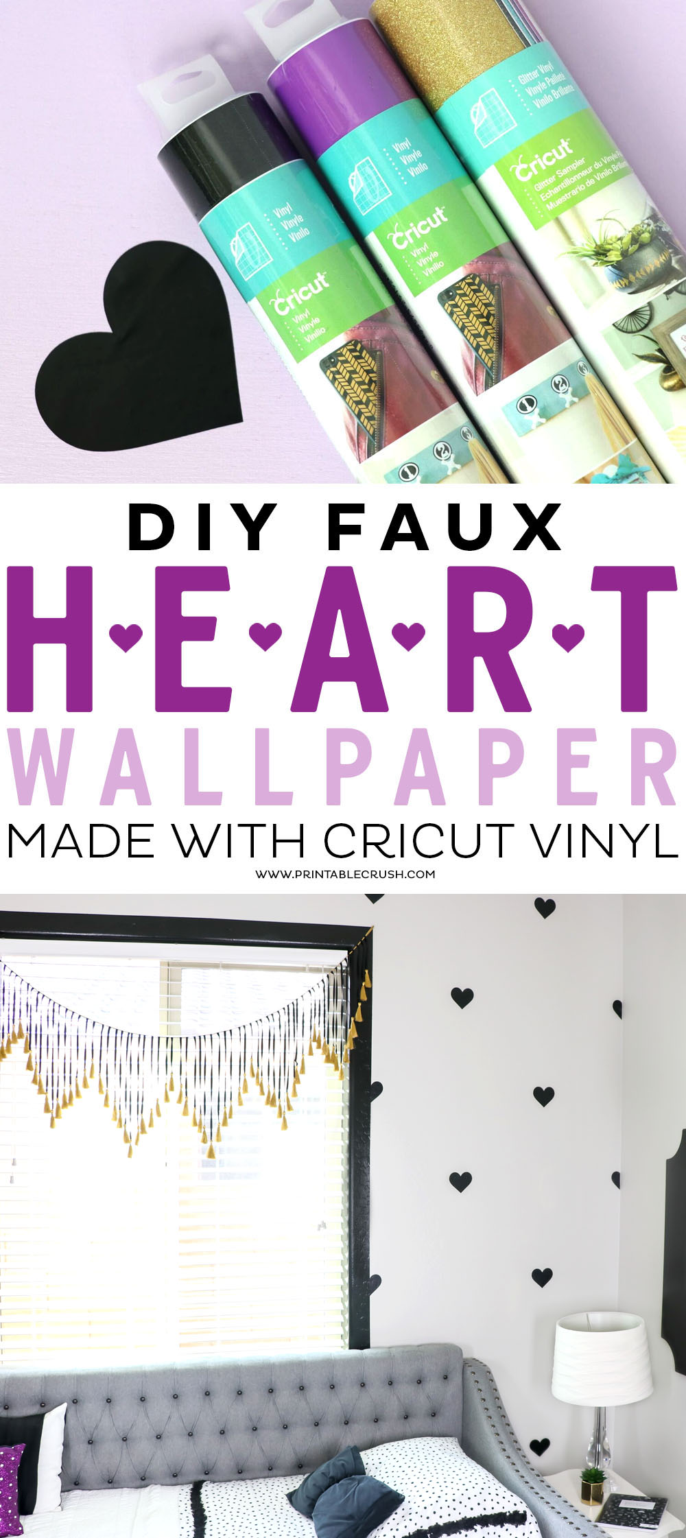 Make a fun and easy statement wall with this DIY Faux Heart Wallpaper made with Cricut Vinyl!
