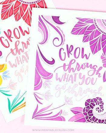 This Free Hand Lettered Word Art Print is gorgeous and comes in two colors