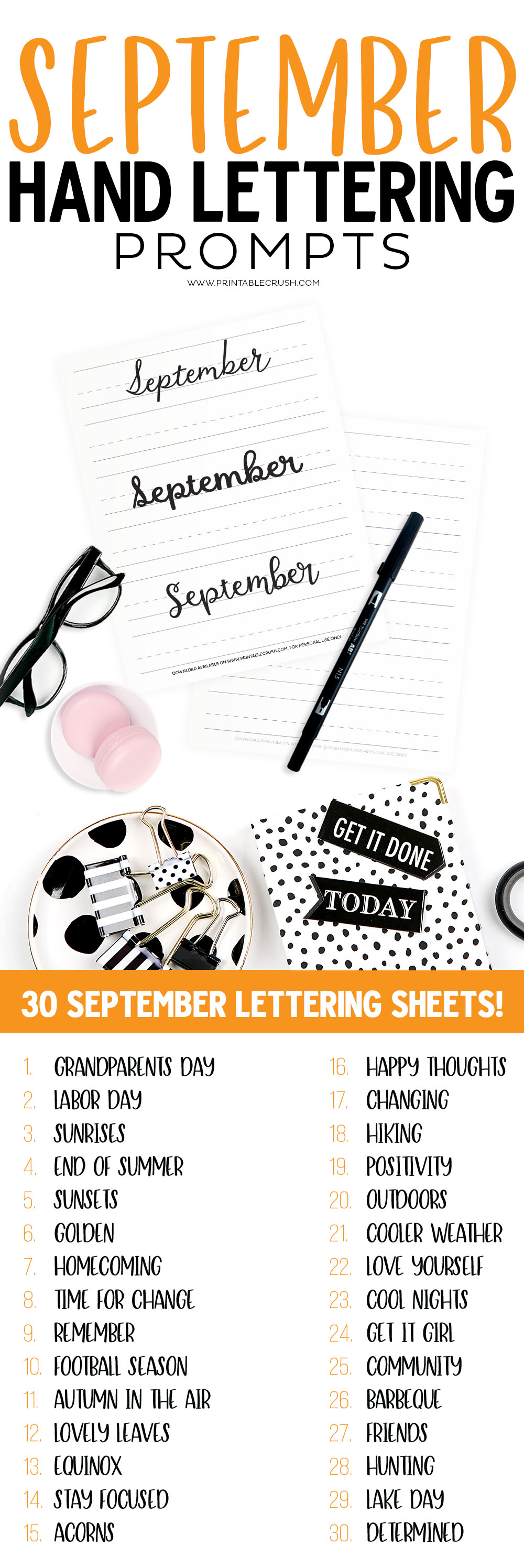 Use these September Hand lettering Prompts to practice lettering skills every day this month! via @printablecrush