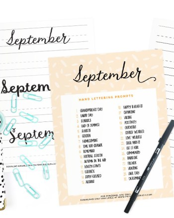 Get 30 September Lettering Prompts plus a FREE practice sheet in this blog series to improve your hand lettering skills. Plus, you can get 30 days of AUGUST lettering worksheets from the shop!