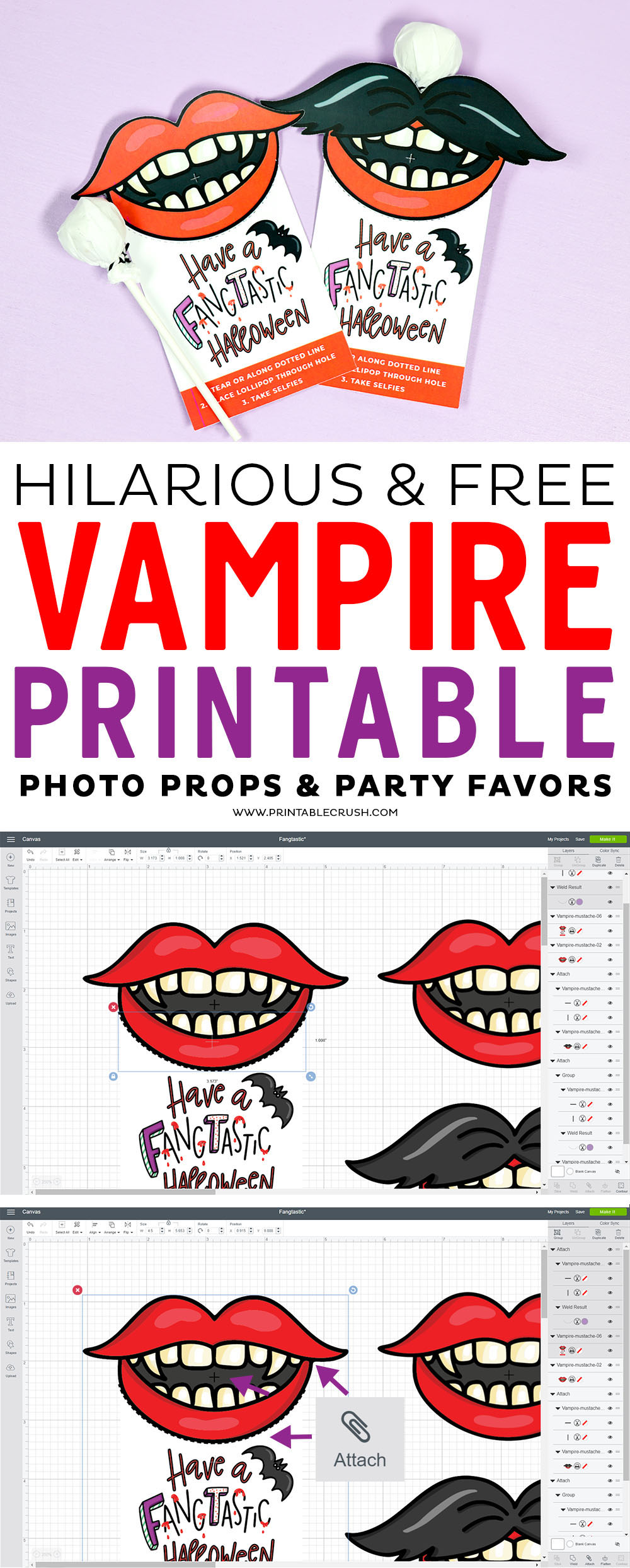 Download these Hilarious and FREE Vampire Printable Photo Props and Party Favors!