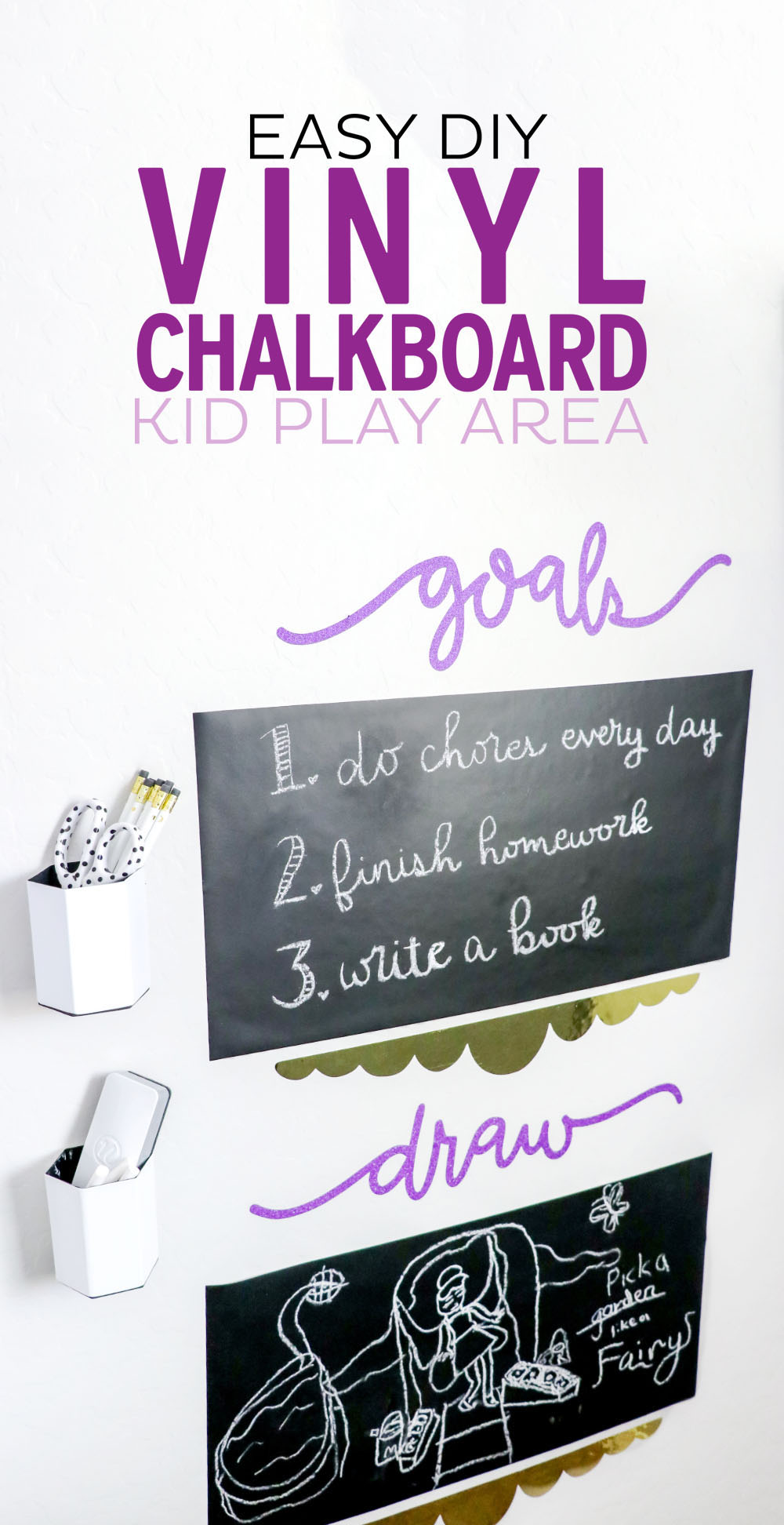 Create an awesome kid play area with Cricut Chalkboard Vinyl that's easy and inexpensive!