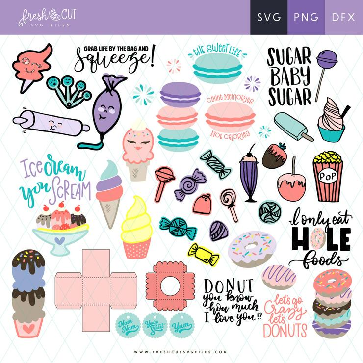 Over 60 designs in this Sweet Shoppe SVG File bundle! Includes ice cream, candy, cupcakes, donuts, and more!