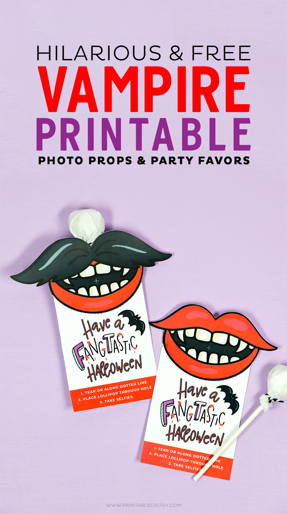 These Hilarious FREE Vampire Printable photo props can also double as a Halloween party favor!