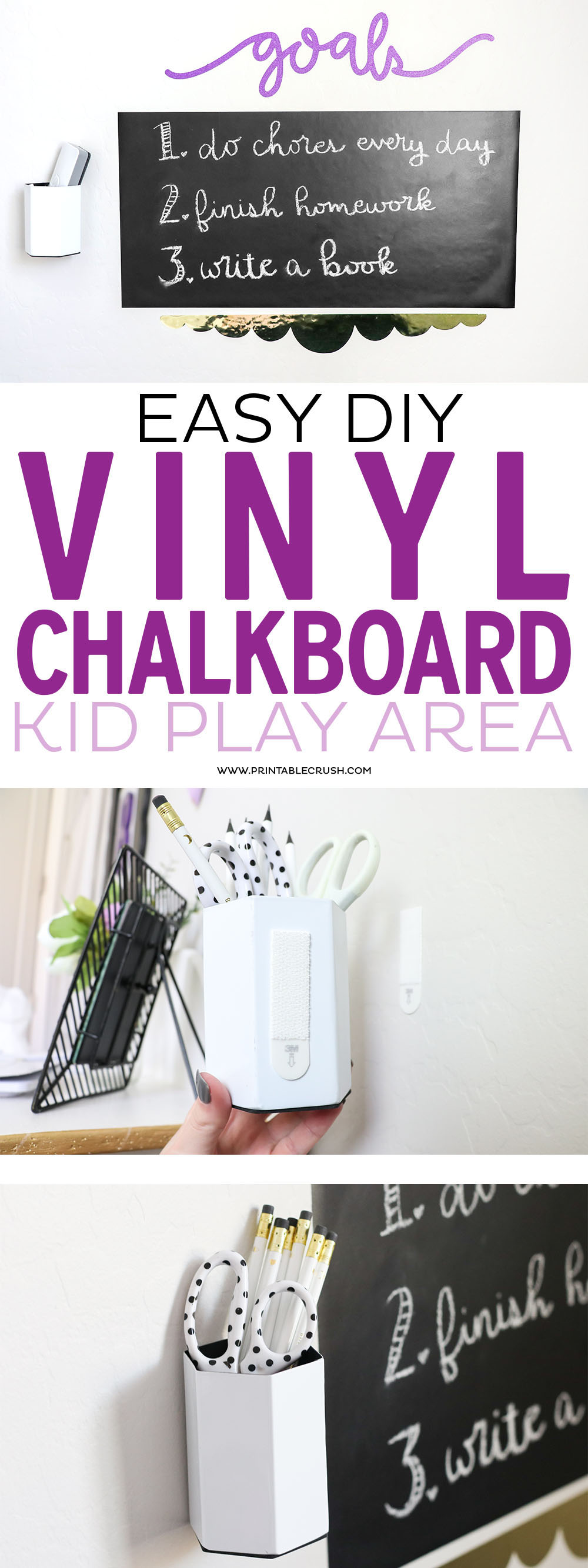 Your child will love to have this DIY Vinyl Chalkboard in their play area!