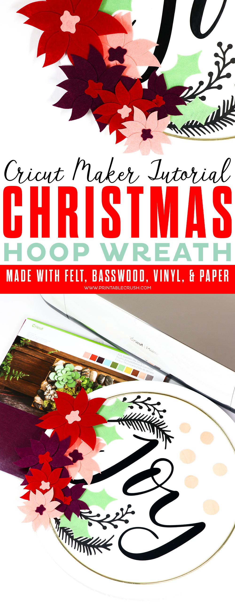 Check out this Cricut Maker Tutorial for a Canvas Christmas Hoop Wreath! I used felt, vinyl, paper, and even basswood for this gorgeous canvas wreath.