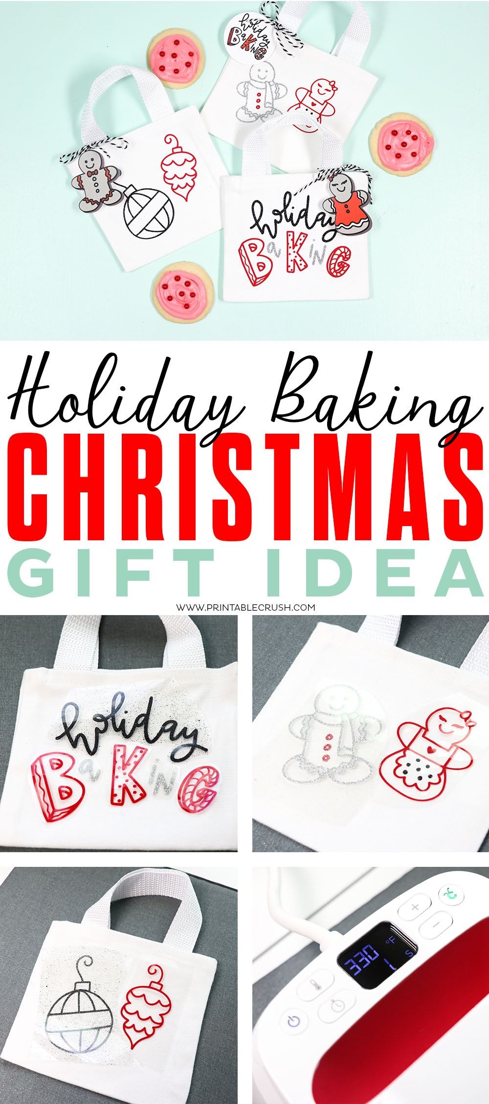 Create this cute Holiday Baking Christmas Gift Idea with the Cricut Maker and EasyPress 2!
