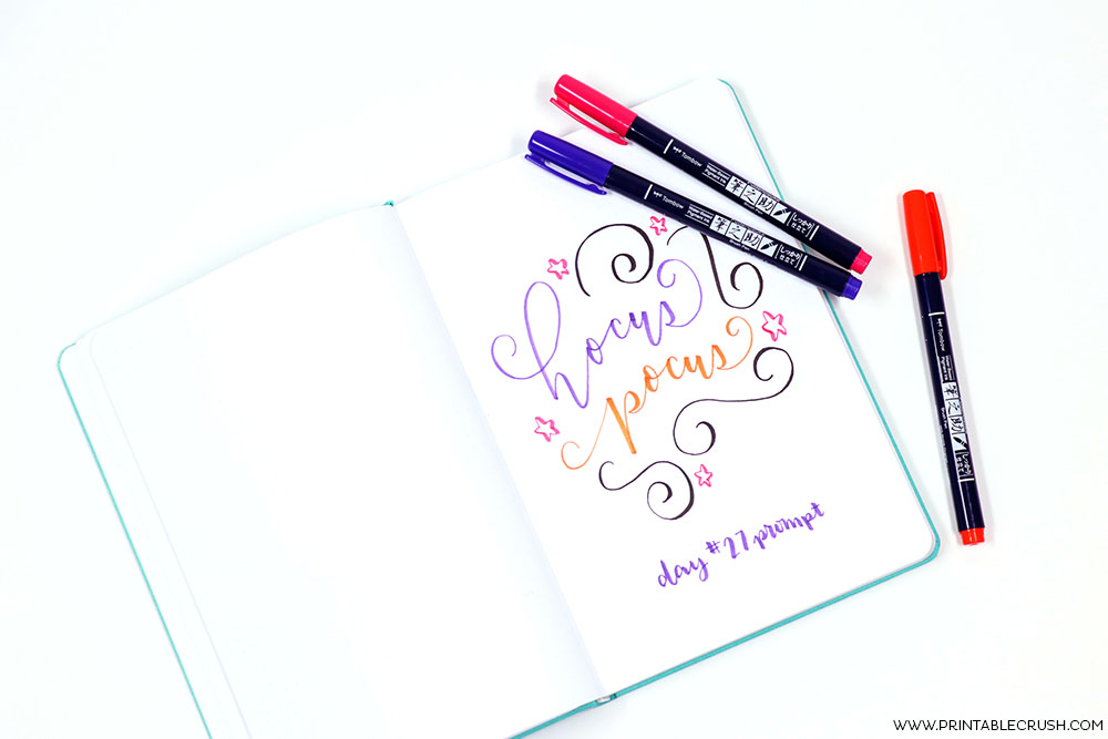 Free October Hand Lettering Prompts and Worksheet