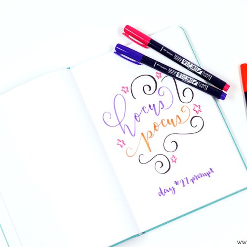 Download this FREE October Hand lettering prompts and worksheet to help you perfect your hand lettering skills!