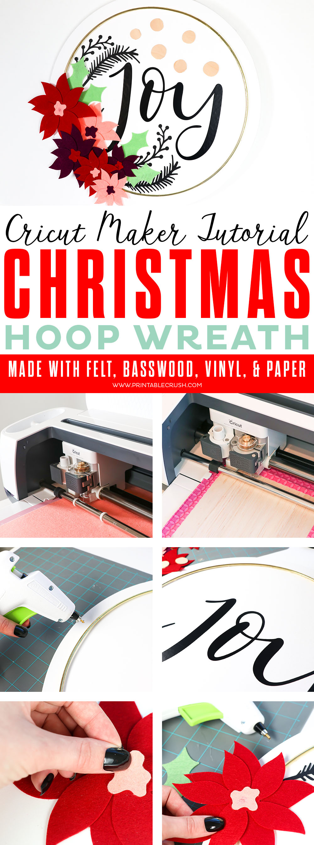 Make this gorgeous Canvas Christmas Hoop Wreath Tutorial using felt, paper, vinyl, and basswood cut outs from the Cricut Maker.  #cricutmaker #cricutmade #sayitwithcricut #christmaswreath #hoopwreathtutorial via @printablecrush