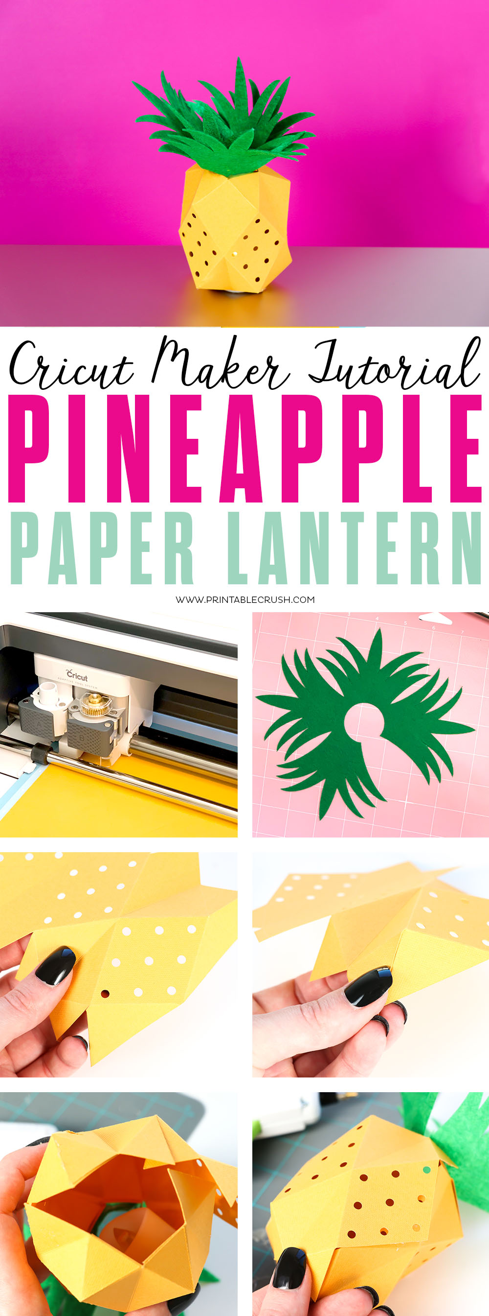 Check out this Paper Pineapple Lantern Tutorial made with the Cricut Maker Scoring Blade!