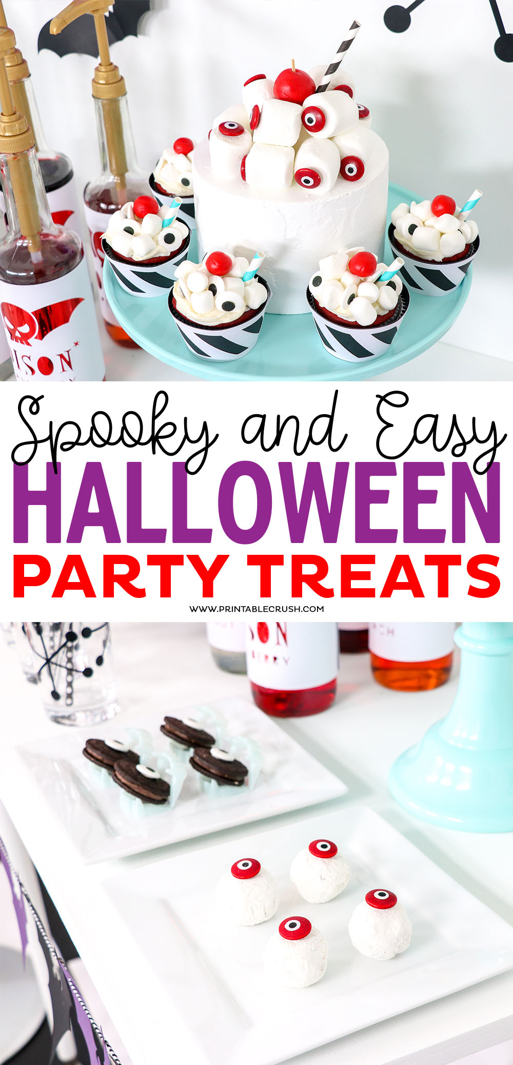 These are the EASIEST Halloween party Treat ideas you will ever try! Little to no cooking time and will definitely satisfy that sweet tooth for your Hallween parties.