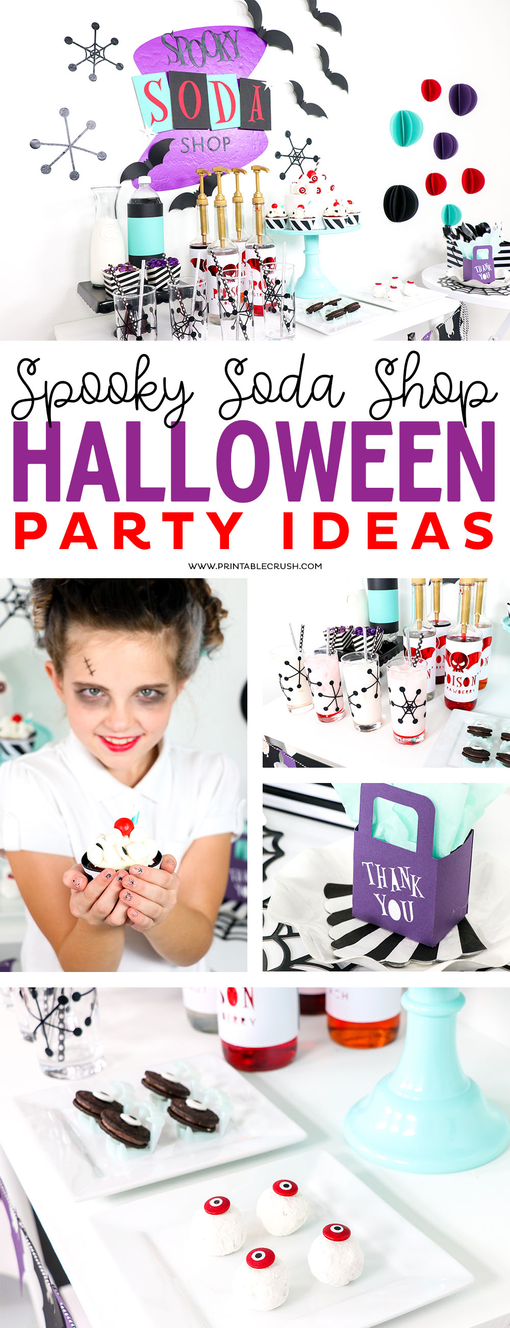 This Spooky Soda Shop Halloween Party is bright and colorful and it is made SO much easier with the Cricut Maker!