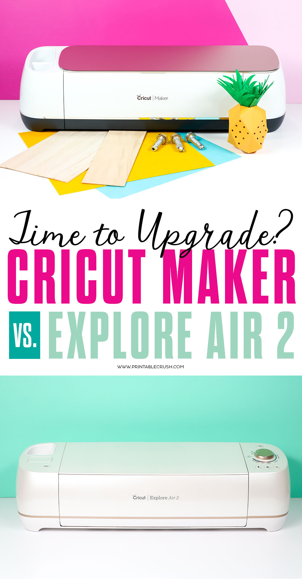You may need to Upgrade from the Cricut Explore Air to the Cricut Maker. Check out this post on the Cricut Maker Vs. Explore Air 2 to see what the Maker can do! #cricutmade #sayitwithcricut #cricutmaker #cricutupgrade via @printablecrush