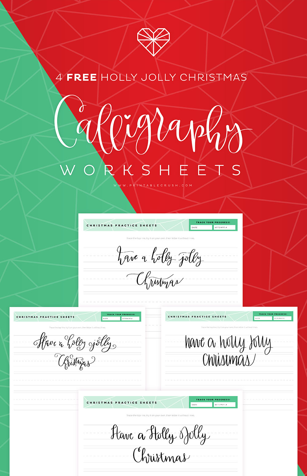 Practice your calligraphy pen skills with these FREE Holly Jolly Christmas Calligraphy Practice Sheets. You get four different designs with plenty of practice space. #calligraphypracticesheets #casualcalligraphy #casualcalligraphycourse #calligraphypractice #calligraphytutorial #freeprintable #freepracticesheet  #christmascalligraphyworksheet #hollyjollychristmas via @printablecrush