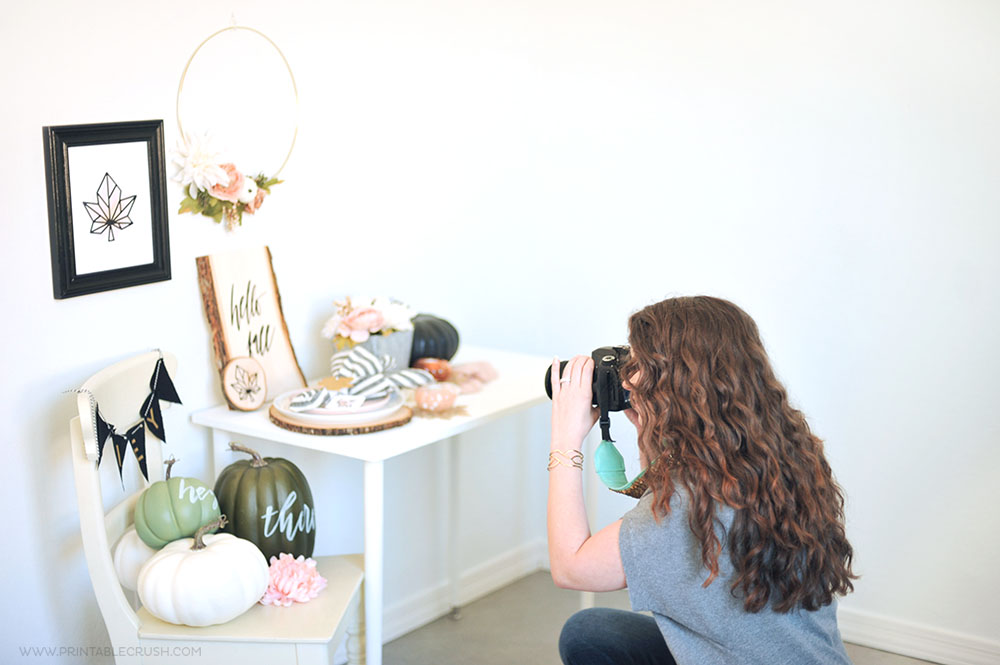 Some behind the scenes of Printable Crush during a Fall Home Decor Photo shoot.