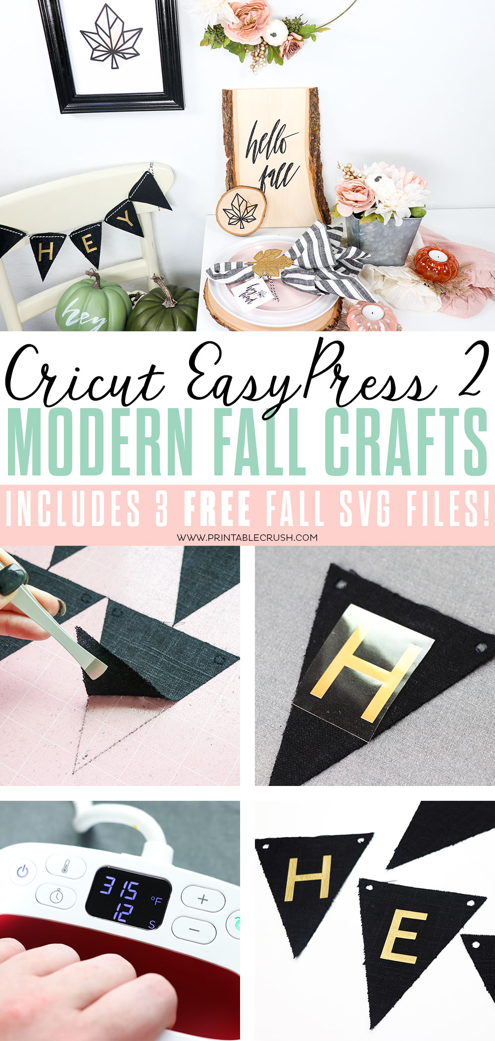 These Cricut EasyPress 2 Modern Fall Crafts and FREE SVG Files are perfect for Thanksgiving or Fall home decor and parties! ! #easypress2 #cricutmade #cricutcraft #cricutmaker #glitterironon #woodplank #walnuthollow #fallhomedecor  via @printablecrush